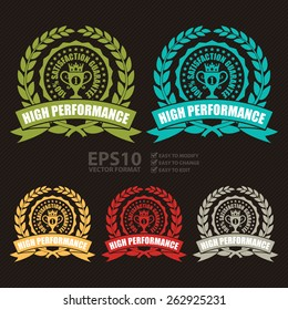 Vector : High Performance Satisfaction Guarantee Wheat Laurel Wreath, Ribbon, Badge, Label, Sticker, Sign or Icon
