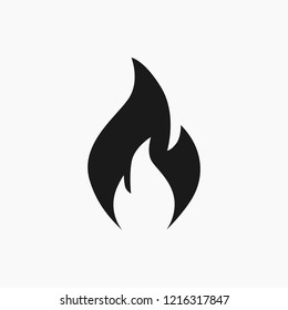 Vector high quality flat style icon illustration of the fire flame symbol isolated on white background