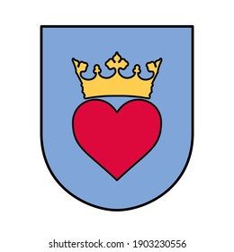 Vector high quality flat style icon illustration of Prince Charming Coat of Arm - Crowned red heart inside a chivalrous shield shape