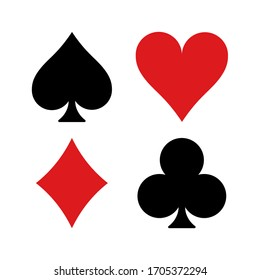 Vector high quality illustration of the four french playing cards suits symbols - Spades Hearts Diamonds and Clubs icons isolated on white background