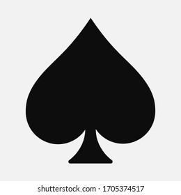 Vector high quality illustration of the french playing cards suit of Spade black symbol isolated on white background - Suits of Spades graphic representation