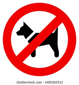 Vector high quality illustration of the No dogs allowed sign - black dog inside the red prohibition symbol. Official international version
