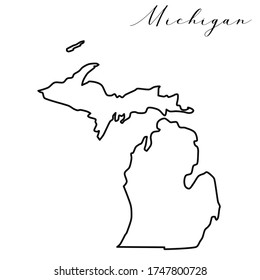 Vector high quality map of the American state of Michigan simple hand made line drawing map