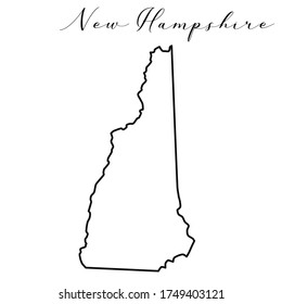 Vector high quality map of the American state of New Hampshire simple hand made line drawing map