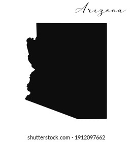 Vector high quality map of the American state of Arizona simple black silhouette map
