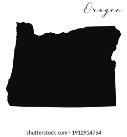 Vector high quality map of the American state of Oregon simple black silhouette map