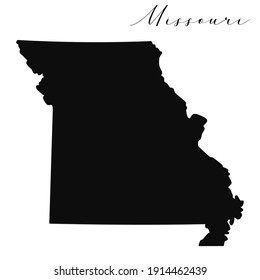 Vector high quality map of the American state of Missouri simple black silhouette map