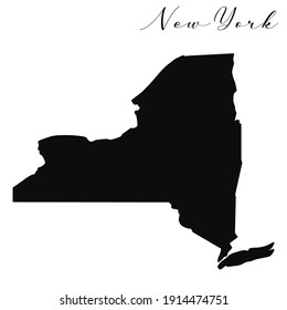 Vector high quality map of the American state of New York simple black silhouette map