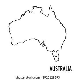 Vector high quality map of the Oceanian state of Australia - Simple hand made line drawing map