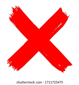 Vector high quality red X cross grungy icon isolated on white background - flat style brush illustration