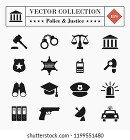 Vector high quality set of 16 police and justice, law and legal related icons