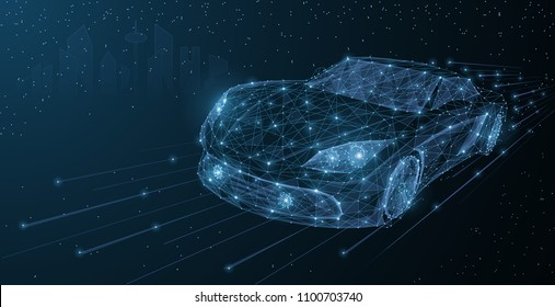 Vector high speed motion car night city drive. Abstract wire low poy car illustration on dark blue cityscape background stars, headlight on. Transportation, fast drive, vehicle road travel concept