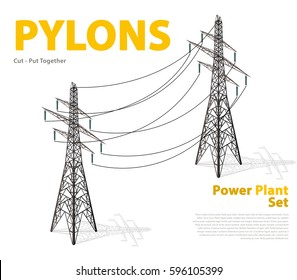 Vector high voltage pylon isolated on white background in isometric perspective. 3d metal pole voltage with typography. Industrial illustration. Power line pylon. Nuclear power station facilities.
