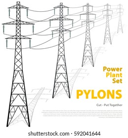 Vector high voltage pylons on white background. Isolated colonnade of metal poles voltage. Surface industrial illustration. Power line pylons with typography. Nuclear facilities and power arteries.