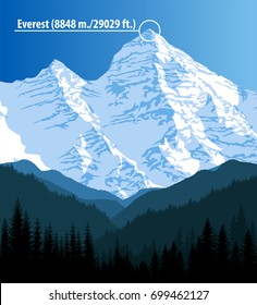 Vector highest mountains Everest