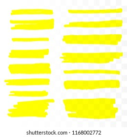 Vector highlighter brush set. Hand drawn yellow highlight marker stripes.