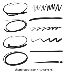 vector highlighter elements, underlines, circle markers