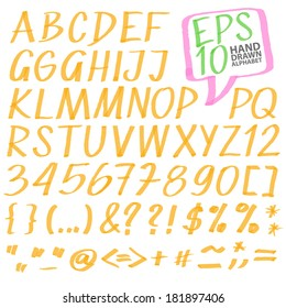 vector highlighter elements VOL 3 - handwritten alphabet, color can be changed by one click