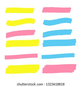 Vector highlighter elements. Yellow marker text selection