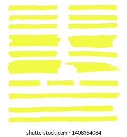 Vector highlighter. Hand drawn yellow highlighter marker stripes. Set highlighter. Vector illustration EPS10