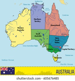 Map Of Australia States And Capitals.Australian Capital Territory State Images Stock Photos Vectors
