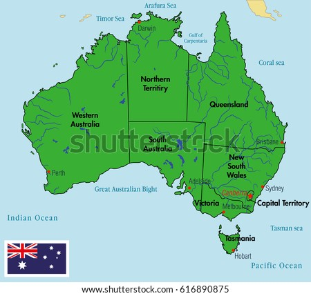 Political Map Of Australia With Capitals.Vector Highly Detailed Political Map Australia Stock Vector Royalty
