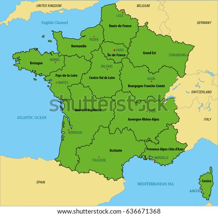 Map Of France In English.Vector Highly Detailed Political Map France Stock Vector Royalty