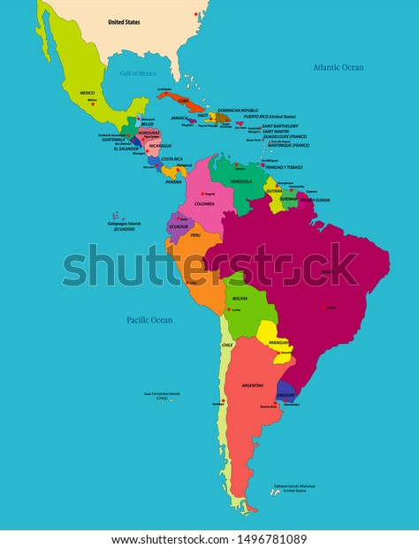 Vector Highly Detailed Political Map Latin Stock Vector Royalty Free 1496781089