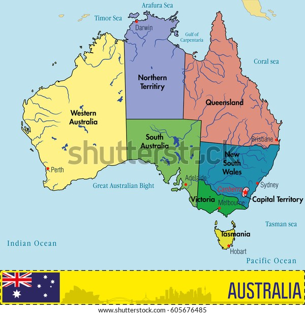 Vector Highly Detailed Political Map Australia Stock ...