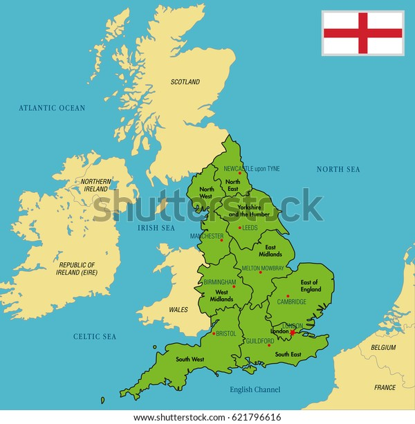 Vector Highly Detailed Political Map England Stock