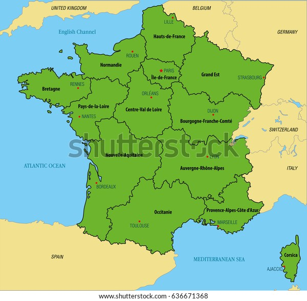 Detailed Map Of France Regions.Vector Highly Detailed Political Map France Stock Vector Royalty
