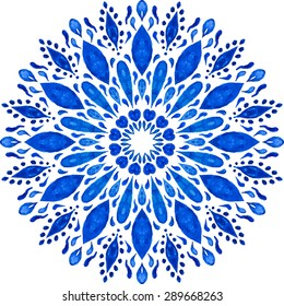 Vector Highly-detailed Mandala. Watercolor Hand Drawn Round Ornament. Lacy Ethnic Pattern. Indian, Arabic, Islam motif.