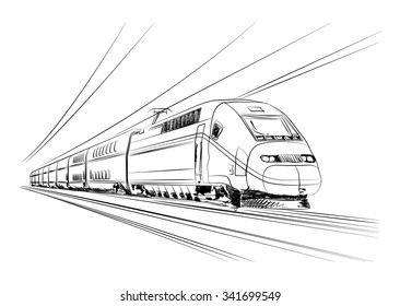 Vector High-speed train in motion, France, Europe