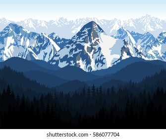 vector Himalaya alps morning mountains background texture seamless pattern.