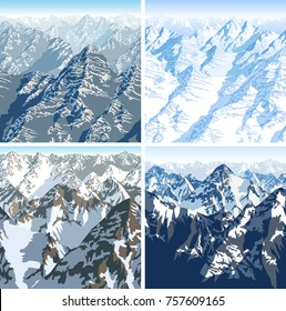 vector Himalaya alps mountains background texture seamless patterns