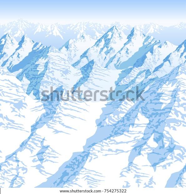 Vector Himalaya Alps Mountains Background Texture Stock ...