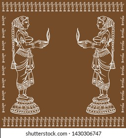 Vector of Hindu ladies standing side view and holding traditional diya or oil lamp