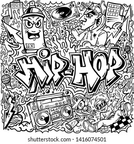 Vector Hip Hop Graffiti Doodle Line Art Drawing Illustration Cartoon Comic Book
