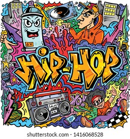 Vector HipHop Graffiti Doodle Art Illustration Urban Cartoon Characters