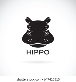 Vector of a hippo face design on white background, Wild Animals.
