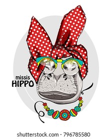 Vector hippo with kerchief, necklace and  glasses. Hand drawn illustration of dressed hippopotamus.