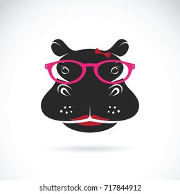Vector of hippo wearing glasses on white background. Animal fashion.