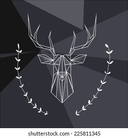 Vector hipster abstract geometric background with deer