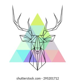Vector hipster abstract geometric  deer with triangle colorful background. Origami style