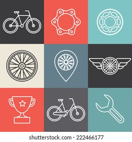 Vector hipster bicycle logo templates - set of outline icons