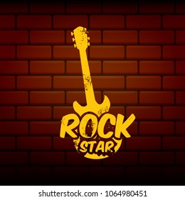 vector hipster cartoon retro label rock star. Rock n roll music poster or print design template