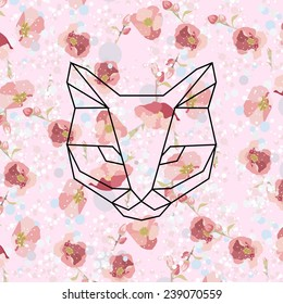 Vector hipster geometric head of cat of triangles with pattern of flowers. Origami style.