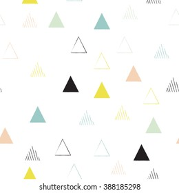 Vector hipster geometric seamless pattern in pastel colors.