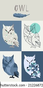 Vector hipster geometric set of owl