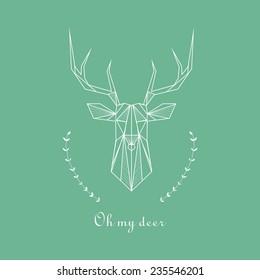 Vector hipster geometric triangle deer. Oh my deer.